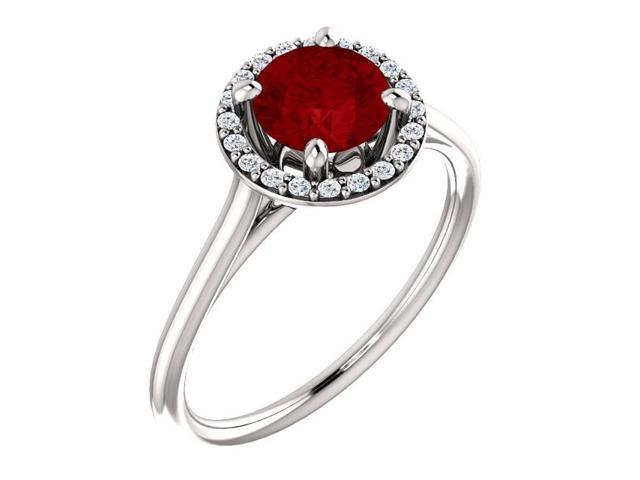 6mm 1.00 tcw. Created Ruby & Diamond Halo Gemstone Ring - Size 7