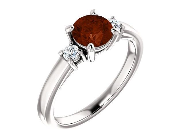 Genuine 6mm 0.85 tcw. Garnet 3-Stone Gemstone Ring