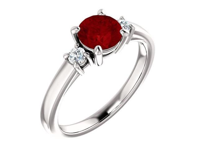 Created 6mm 1.00 tcw. Ruby 3-Stone Gemstone Ring