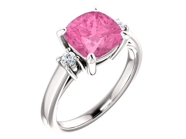 8mm Antique Square Cushion 1.50 tcw. Cubic Zirconia Pink Gemstone Ring - Size 7.5
