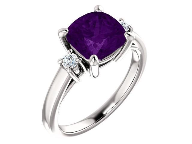 Genuine 8mm Antique Square Cushion 1.75 tcw. Amethyst  Gemstone Ring - Size 7