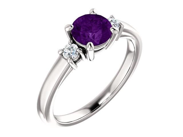 Genuine 6mm 0.70 tcw. Amethyst 3-Stone Gemstone Ring