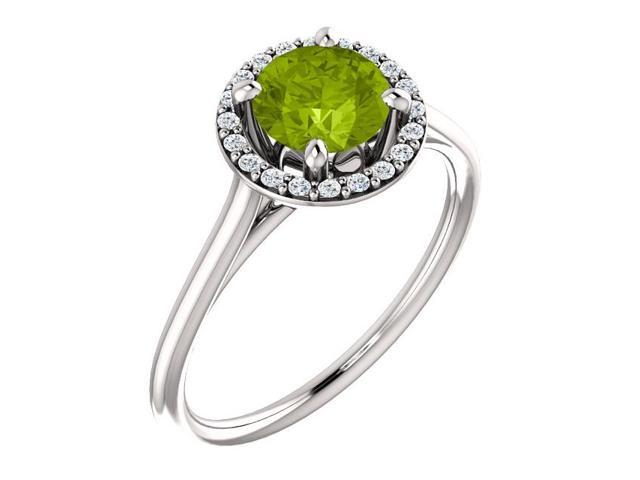 Genuine 6mm 0.80 tcw. Peridot & Diamond Halo Gemstone Ring - Size 8