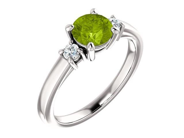 Genuine 6mm 0.80 tcw. Peridot 3-Stone Gemstone Ring