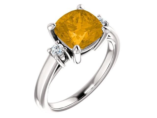 Genuine 8mm Antique Square Cushion 1.75 tcw. Citrine  Gemstone Ring - Size 6