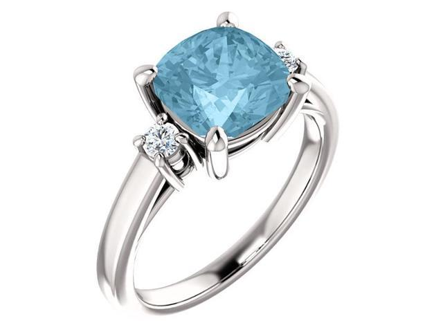 8mm Antique Square Cushion 2.50 tcw. Cubic Zirconia Aqua  Gemstone Ring - Size 8