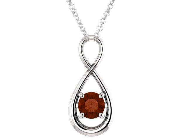 Sterling Silver 0.85 tcw. Genuine 6mm Garnet Infinity Pendant with 24