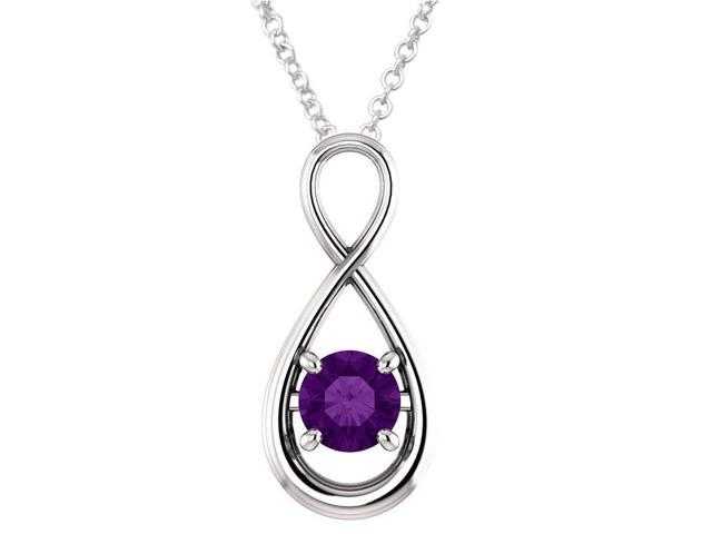 Sterling Silver 0.70 tcw. Genuine 6mm Amethyst Infinity Pendant with 24