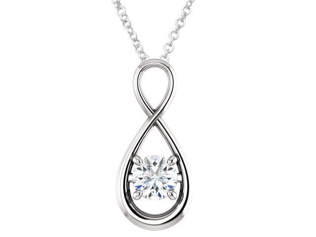 Sterling Silver 0.80 tcw. Genuine 6mm White Topaz Infinity Pendant with 16