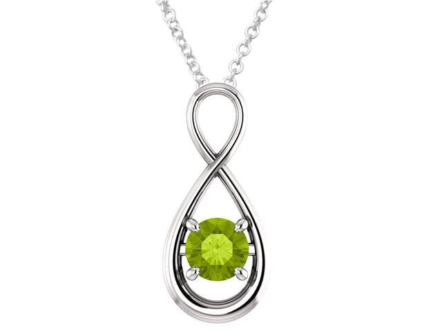 Sterling Silver 0.80 tcw. Genuine 6mm Peridot Infinity Pendant with Chain
