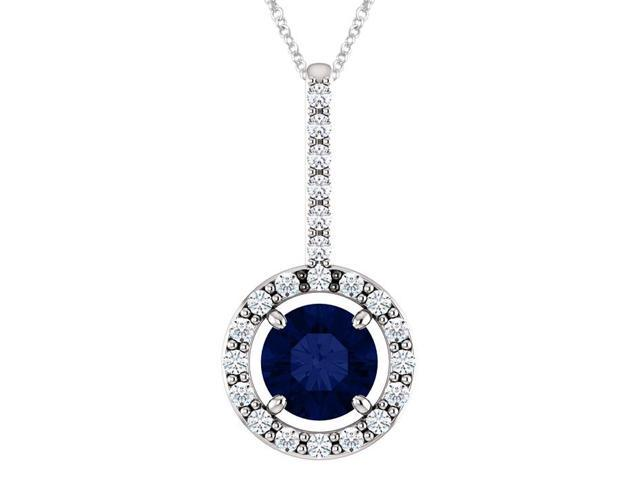 10K White Gold 0.55 tcw. 5mm Created Sapphire & Created White Sapphire Pendant with 24