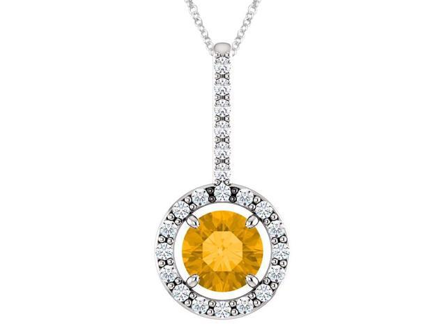Sterling Silver 0.40 tcw. Genuine 5mm Citrine & Created White Sapphire Pendant with 16