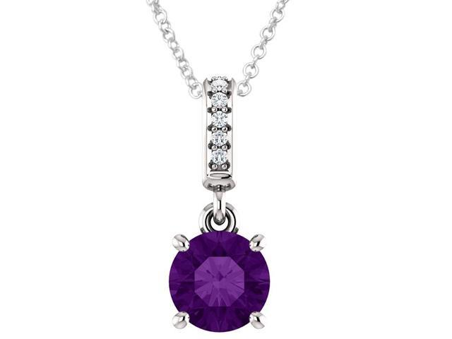Sterling Silver 0.70 tcw. Genuine 6mm Amethyst & Diamond Pendant with 16