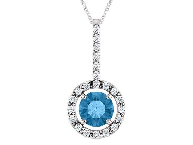 Sterling Silver 0.55 tcw. Genuine 5mm Blue Topaz & Created White Sapphire Pendant with 18