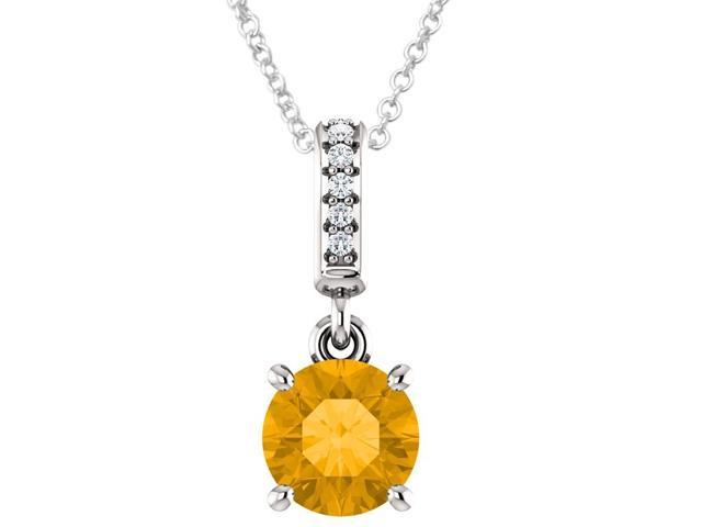 Sterling Silver 0.70 tcw. Genuine 6mm Citrine & Diamond Pendant with 18