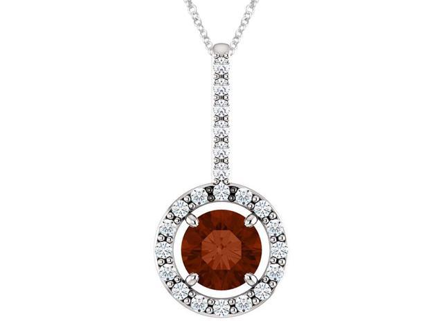 Sterling Silver 0.55 tcw. Genuine 5mm Garnet & Created White Sapphire Pendant with 18