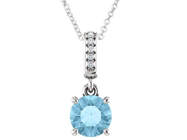 Sterling Silver 0.90 tcw. Genuine 6mm Created Aquamarine & Diamond Pendant with 24