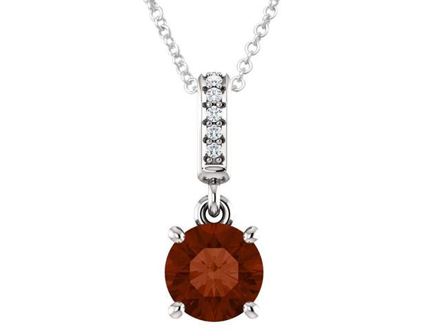 Sterling Silver 0.85 tcw. Genuine 6mm Garnet & Diamond Pendant with 18