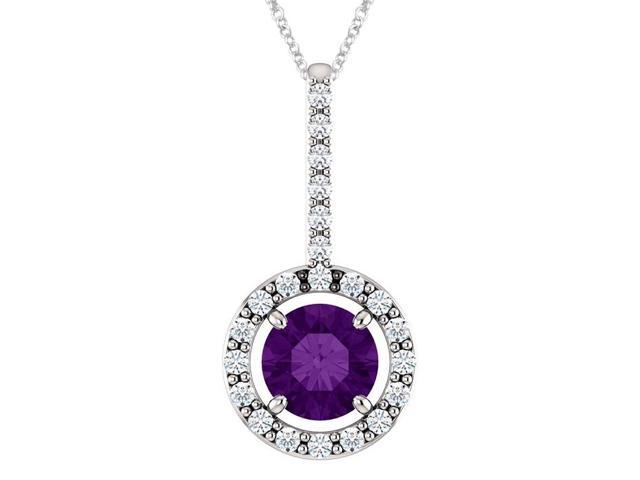 Sterling Silver 0.45 tcw. Genuine 5mm Amethyst & Created White Sapphire Pendant with 22