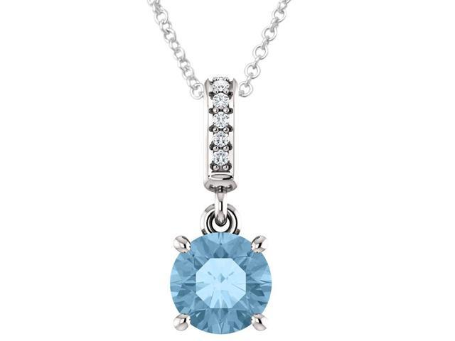 10K White Gold 0.95 tcw. Genuine 6mm Blue Topaz & Diamond Pendant with 18