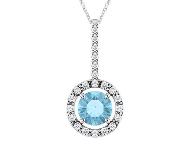 Sterling Silver 0.55 tcw. 5mm Created Aquamarine & Created White Sapphire Pendant with 22