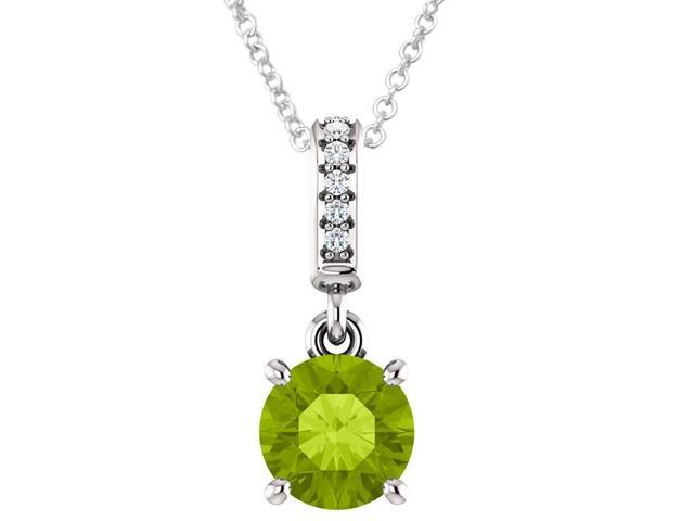 Sterling Silver 0.65 tcw. Genuine 6mm Peridot & Diamond Pendant with 16