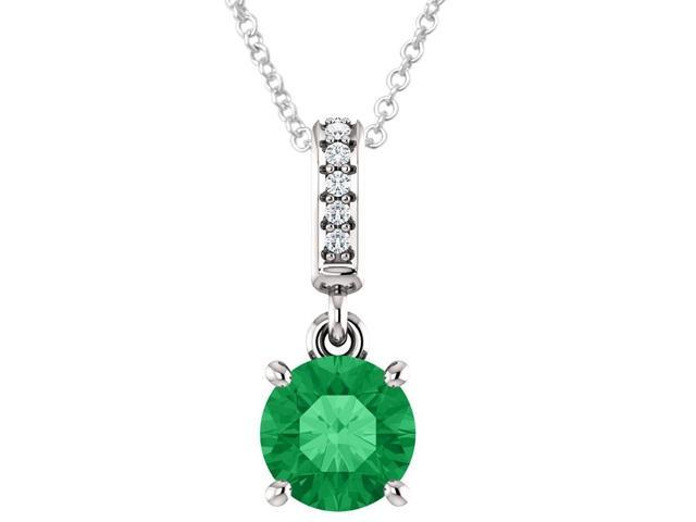 10K White Gold 0.80 tcw. Genuine 6mm Created Emerald & Diamond Pendant with 16