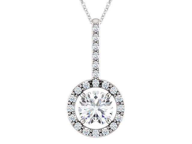 10K White Gold 0.55 tcw. Genuine 5mm White Topaz & Created White Sapphire Pendant with 16
