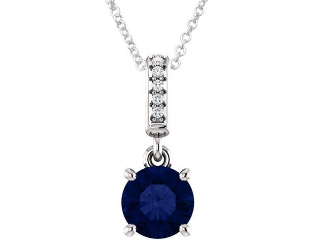 Sterling Silver 1.00 tcw. Genuine 6mm Created Sapphire & Diamond Pendant with 16