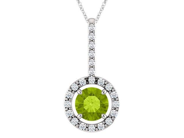 Sterling Silver 0.50 tcw. Genuine 5mm Peridot & Created White Sapphire Pendant with 18
