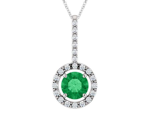 Sterling Silver 0.45 tcw. 5mm Created Emerald & Created White Sapphire Pendant with 24
