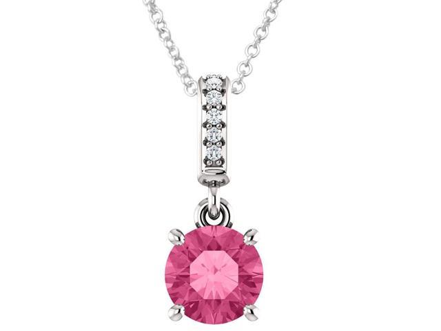 Sterling Silver 1.50 tcw. Genuine 6mm Created Pink Tourmaline & Diamond Pendant with 16