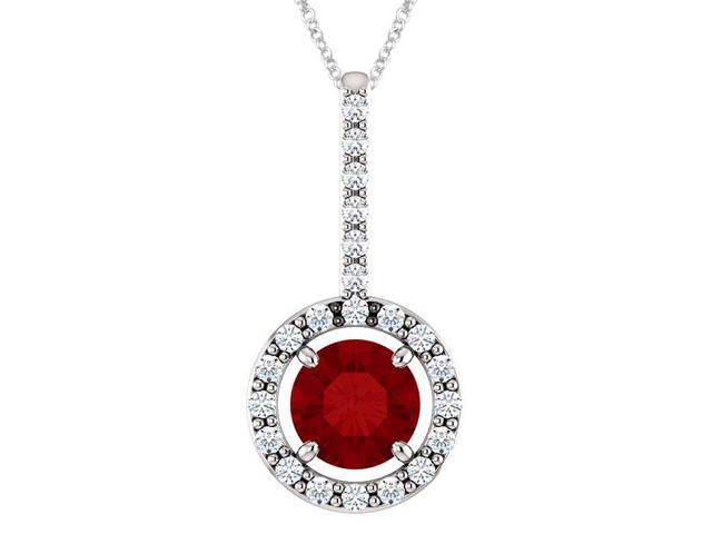 10K White Gold 0.55 tcw. 5mm Created Ruby & Created White Sapphire Pendant with 24
