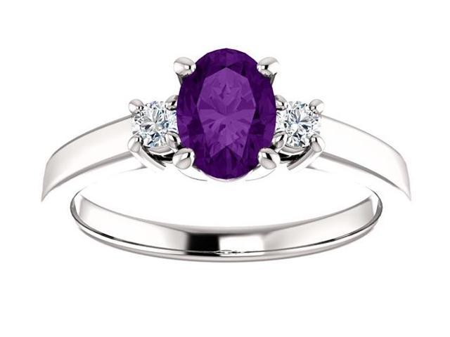 Genuine February 7mm x 5mm Oval 0.55 tcw. Amethyst Gemstone Ring - Size 8