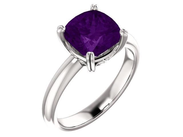 Genuine February 8mm Antique Square 1.75 tcw. Amethyst Gemstone Ring - Size 6