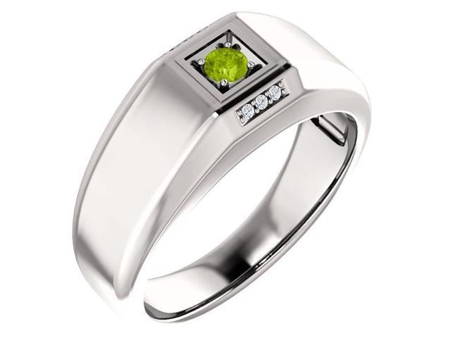 Men`s Genuine August 3mm Round 0.11 tcw. Peridot Gemstone & Diamond Ring - Size 11