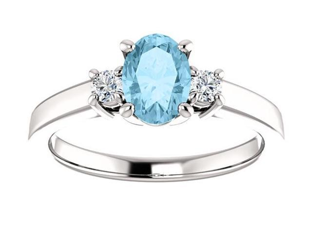 Created March 7mm x 5mm Oval 0.55 tcw. Aquamarine Gemstone Ring - Size 6