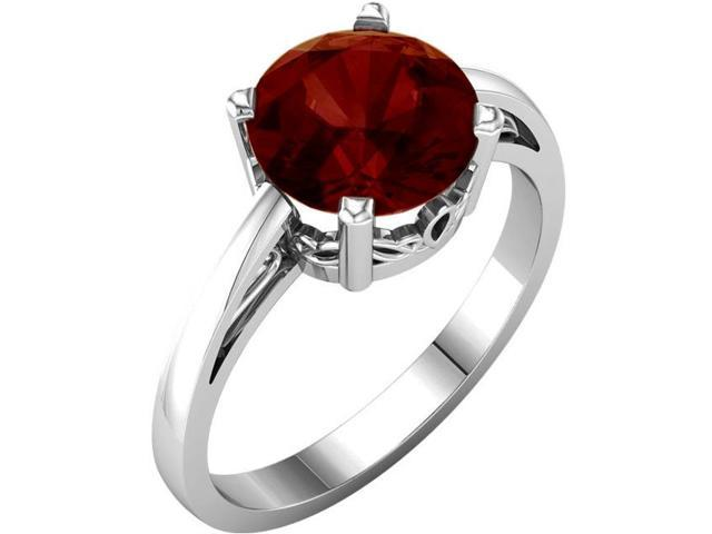 Genuine January 8mm Round 2.20 tcw. Garnet Gemstone Ring - Size 8