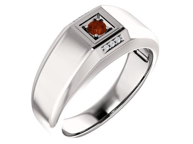 Men`s Genuine January 3mm Round 0.13 tcw. Garnet Gemstone & Diamond Ring - Size 12.5