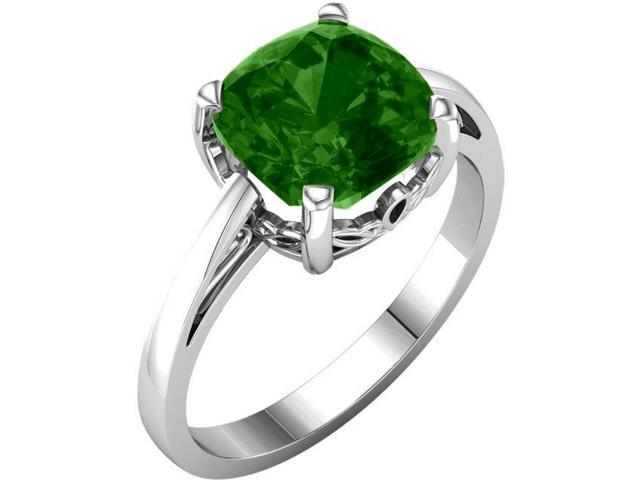 Created May 7mm Antique Square 1.60 tcw. Emerald Gemstone Ring - Size 8