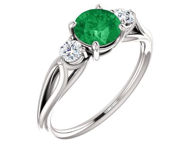 Created 6mm 0.80 tcw. Emerald 3-Stone Gemstone Twist Style Ring