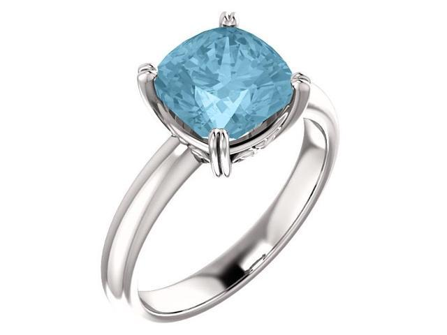 Created March 8mm Antique Square 2.40 tcw. Aquamarine Gemstone Ring - Size 6