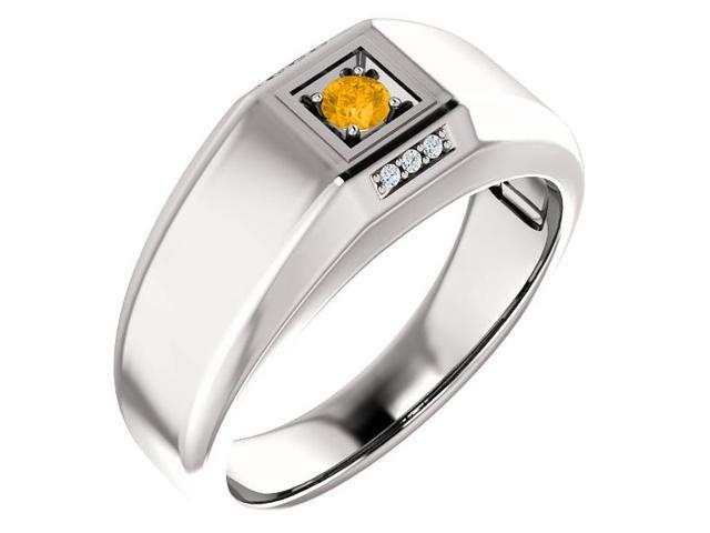 Men`s Genuine November 3mm Round 0.10 tcw. Citrine Gemstone & Diamond Ring - Size 9