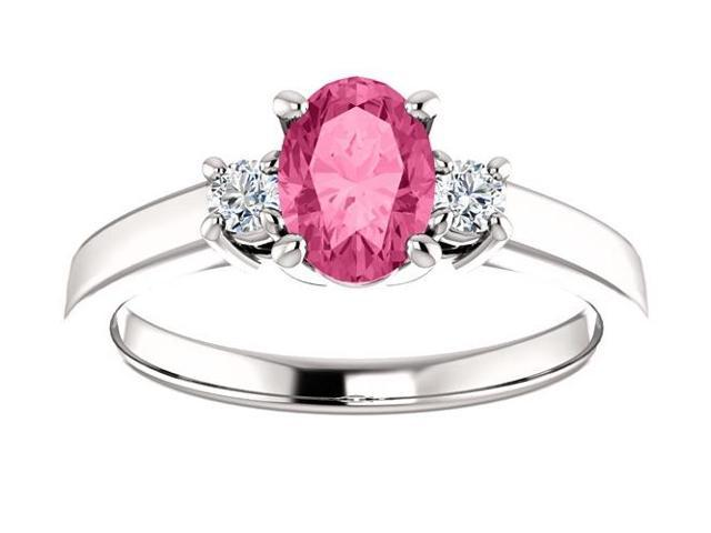 Created October 7mm x 5mm Oval 0.65 tcw. Pink Sapphire Gemstone Ring - Size 8