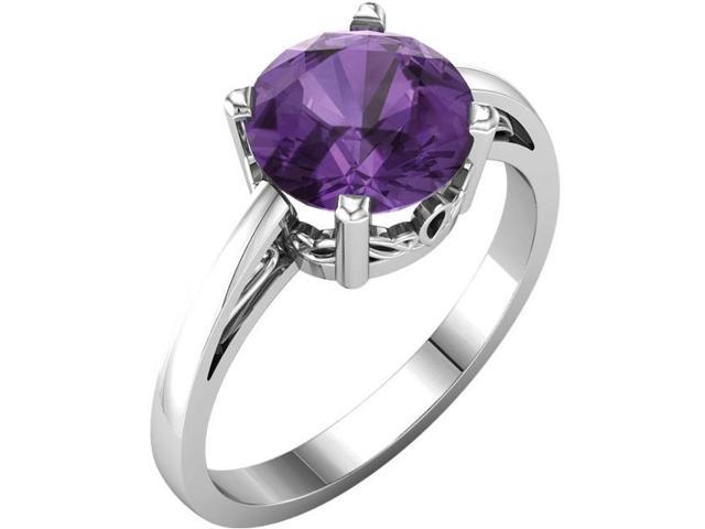 Genuine February 8mm Round 1.50 tcw. Amethyst Gemstone Ring - Size 7