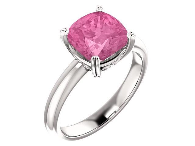 Created October 8mm Antique Square 2.40 tcw. Pink Sapphire Gemstone Ring - Size 8