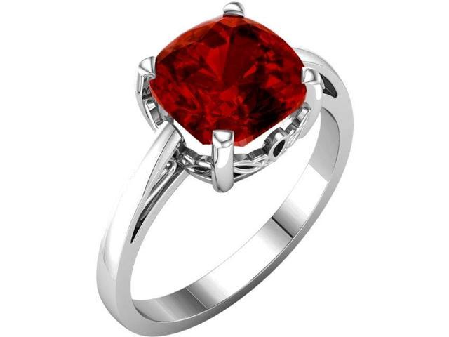 Created July 7mm Antique Square 2.15 tcw. Ruby Gemstone Ring - Size 7