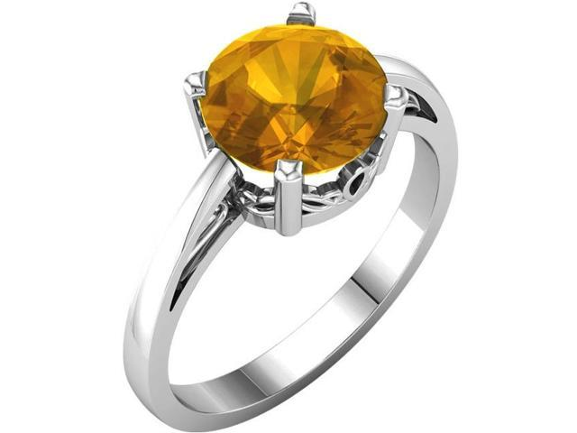 Genuine November 8mm Round 1.70 tcw. Citrine Gemstone Ring - Size 6
