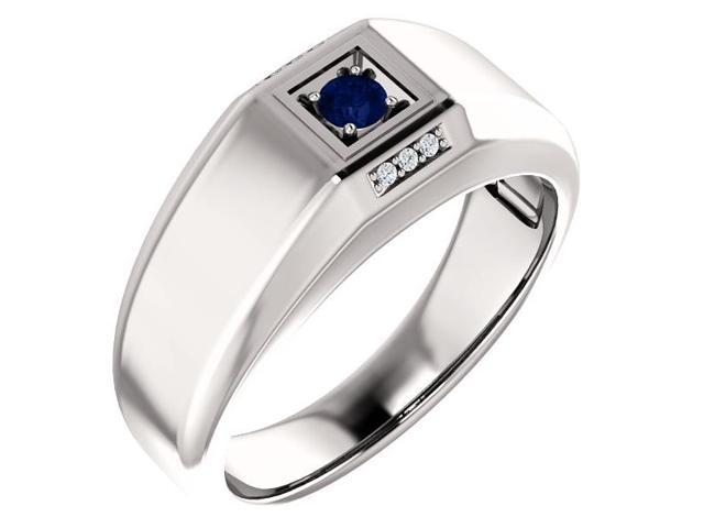 Men`s Genuine September 3mm Round 0.15 tcw. Sapphire Gemstone & Diamond Ring - Size 8