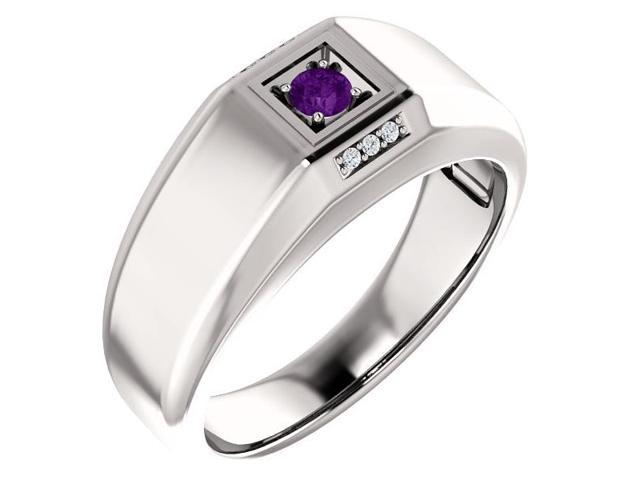 Men`s Genuine February 3mm Round 0.10 tcw. Amethyst Gemstone & Diamond Ring - Size 8
